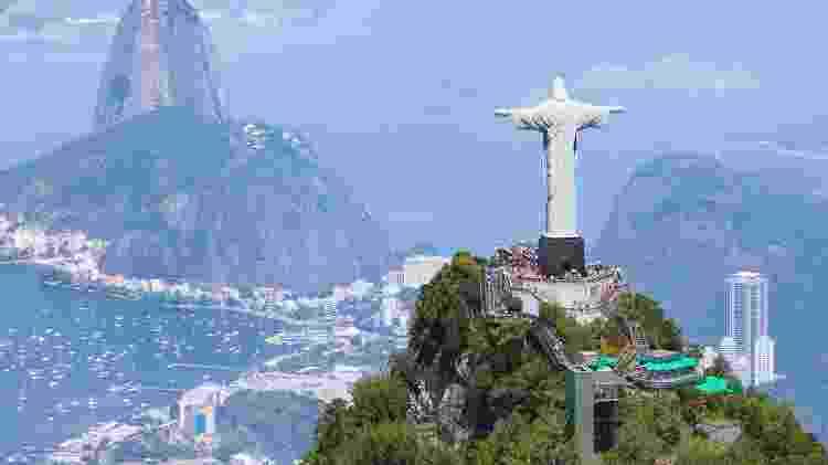 Vista área do Cristo Redentor, no Rio de Janeiro - Getty Images - Getty Images