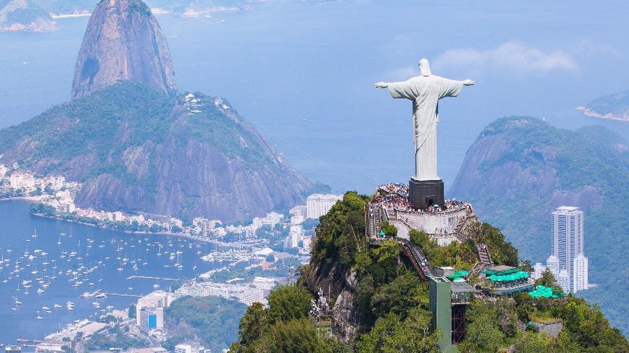 Vista área do Cristo Redentor, no Rio de Janeiro - Getty Images