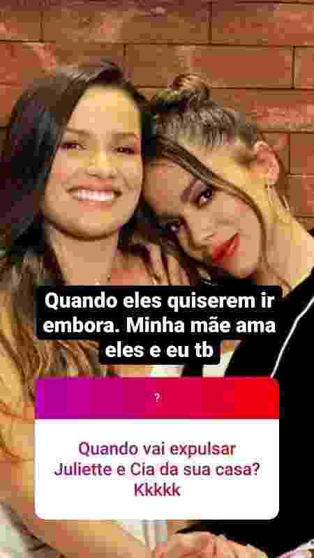 Anitta diz que Juliette e sua mãe são bem-vindas em sua casa - Reprodução/Instagram - Reprodução/Instagram