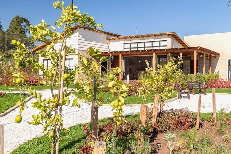 Para o jardim projetado pela arquiteta e paisagista Juliana Lahóz, em Araucária, no Paraná, foram escolhidas espécies fáceis de cultivar. Os canteiros destacam-se pela presença de frutíferas e ervas aromáticas como o limão galego, o alecrim e a hortelã