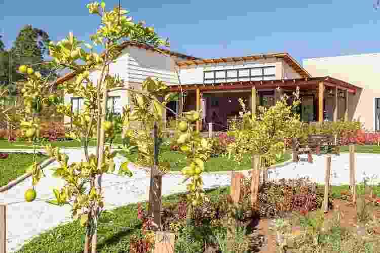 Para o jardim projetado pela arquiteta e paisagista Juliana Lahóz, em Araucária, no Paraná, foram escolhidas espécies fáceis de cultivar. Os canteiros destacam-se pela presença de frutíferas e ervas aromáticas como o limão galego, o alecrim e a hortelã - Divulgação