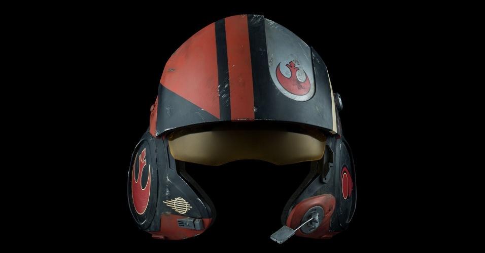 O piloto dos rebeldes Poe Dameron está representado na coleção pelo seu capacete, vendido por US$ 1.500