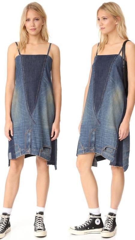Vestido Jeans é feito da união de duas calças - Divulgação