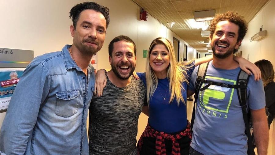 Marco Luque, Maurício Meirelles, Dani Calabresa e Felipe Andreoli se reencontram na Globo - Reprodução/Instagram/maumeirelles