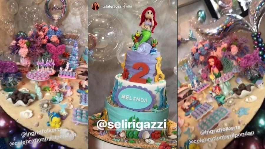 Mesa de doces e bolo de aniversário de Melinda - Reprodução/Instagram