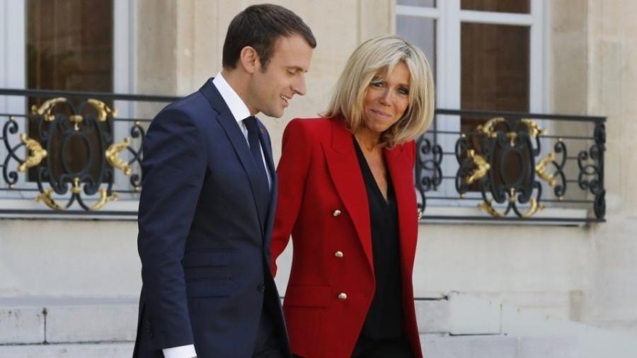 Brigitte Macron ao lado do presidente da frança Emmanuel Macron - Getty Images