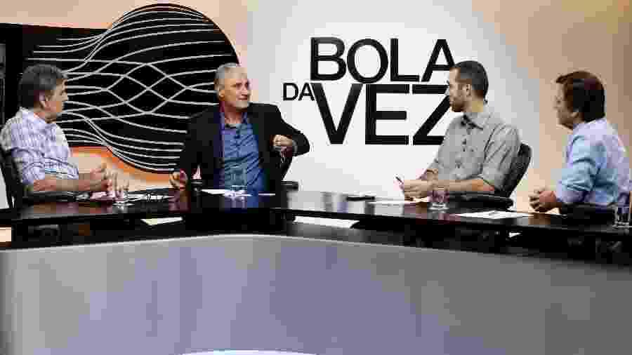 Tite e os jornalistas João Carlos Albuquerque,Gustavo Hofman e Mauro Cezar Pereira - ESPN