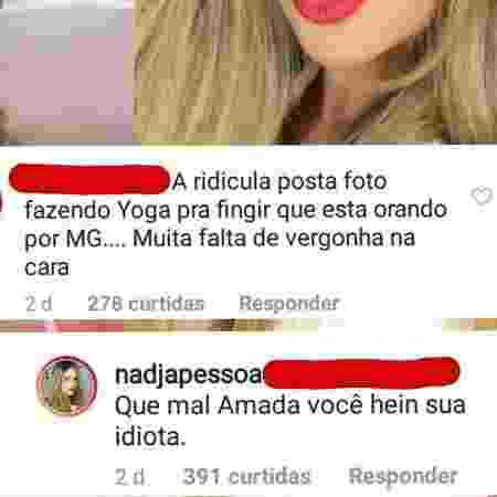 """Nadja rebate seguidora: """"Idiota"""" - Reprodução/Instagram - Reprodução/Instagram"""