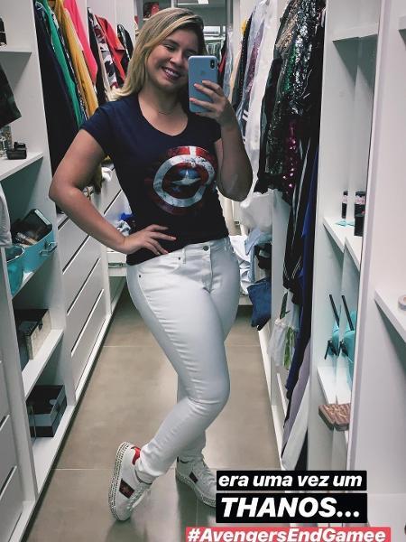 Marília Mendonça com camiseta do Capitão América - Instagram/Reprodução