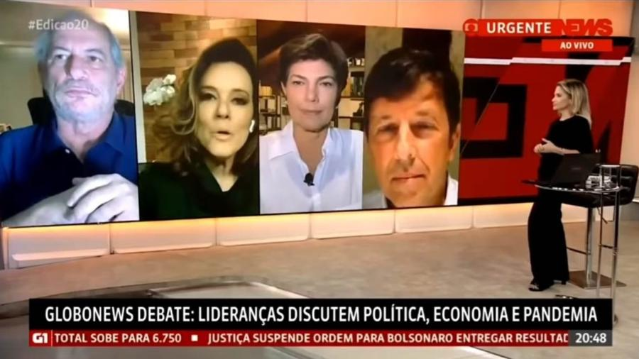 """Ciro Gomes, Natuza Nery, Cristiana Lôbo e João Amoedo no """"GloboNews Debate"""" - Reprodução"""