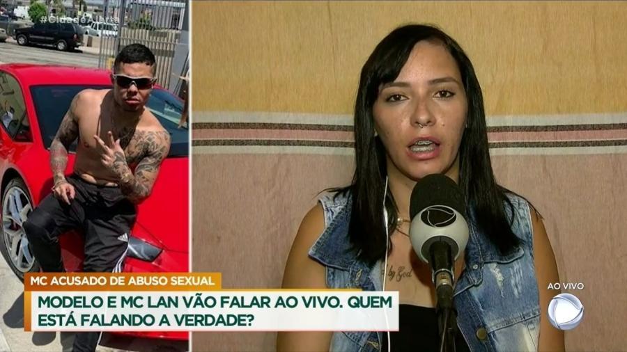 """Jhacy França dá entrevista a Luiz Bacci, no """"Cidade Alerta"""", sobre o caso em que acusa MC Lan de estupro - Reprodução/TV"""