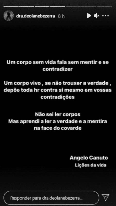 Story de Deolane Bezerra, viúva de MC Kevin - Reprodução/Instagram - Reprodução/Instagram