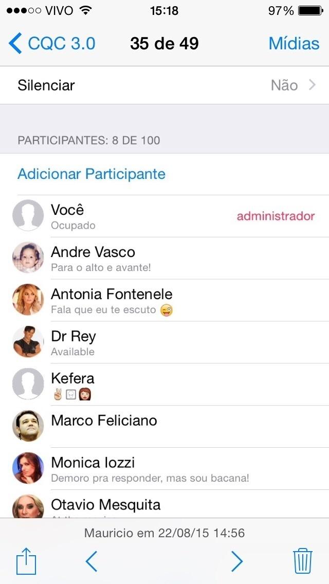 O ?CQC? montou um grupo no WhatsApp, reunindo figuras distintas, mediadas pelo repórter Maurício Meirelles para uma matéria do programa desta segunda-feira (24)