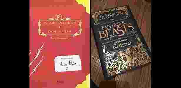 """O """"Animais Fantásticos e Onde Habitam"""" original e a versão em livro do roteiro do filme - Reprodução"""