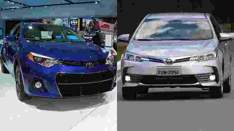 Toyota Corolla sedã de 11ª geração nas configurações americana (esq.) e brasileira (dir.), que segue a mesma linha europeia: perceba como visual é substancialmente diferente - Murilo Góes/Arte UOL