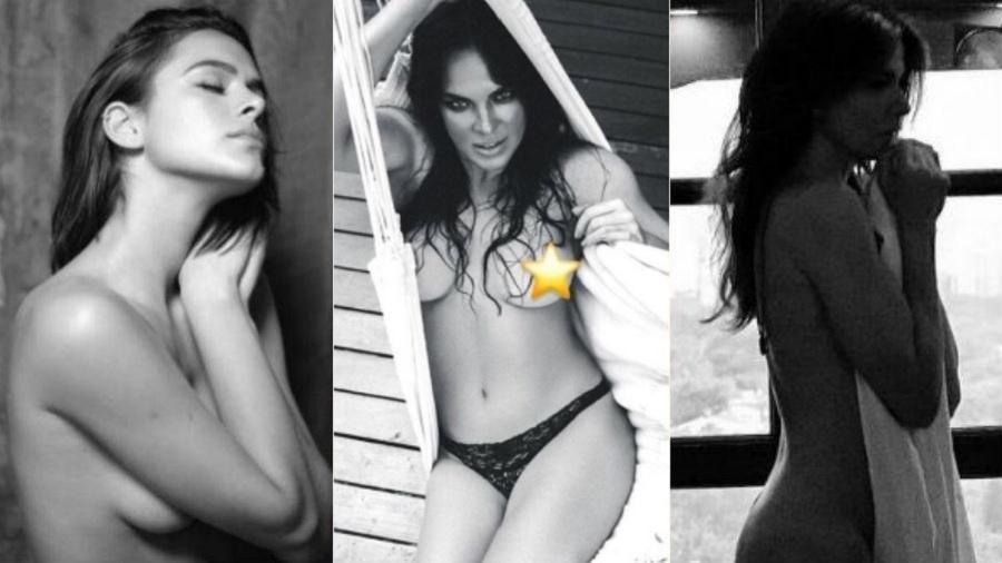 """Bruna Marquezine, Letícia Birkheuer e Luciana Gimenez já publicaram """"nudes"""" nas redes sociais - Montagem/UOL/Reprodução/Instagram"""