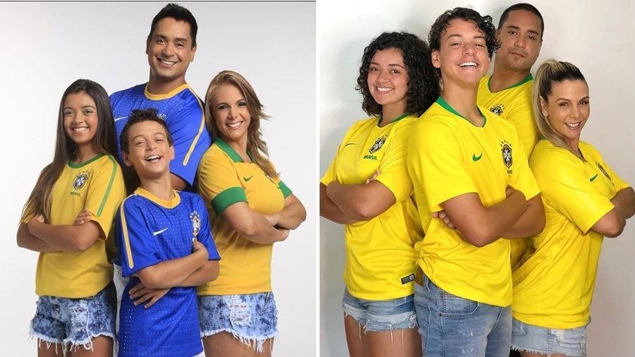 Carla Perez e Xanddy com os filhos, Camilly Victória e Victor Alexandre em 2014 e em 2018 - Reprodução/Instagram