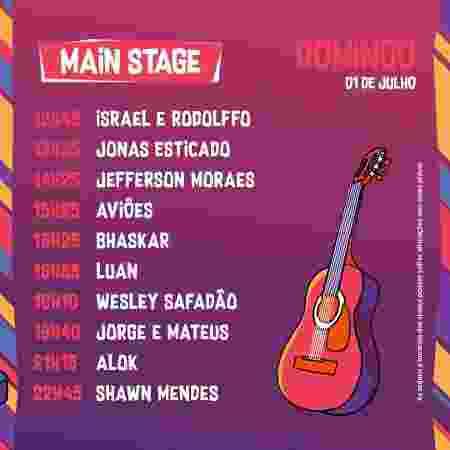 Horários do palco principal do VillaMix Festival Goiânia no domingo - Divulgação - Divulgação