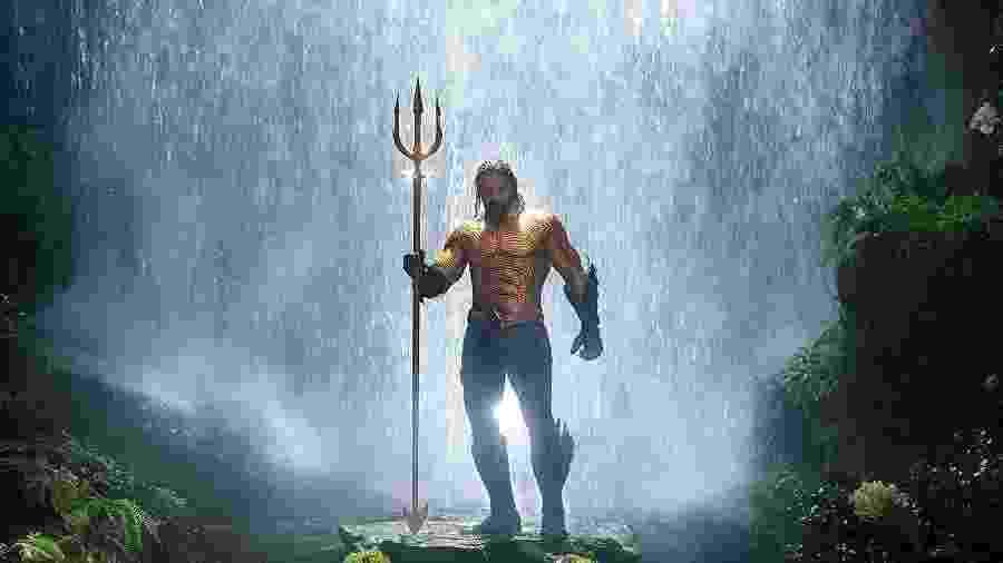Jason Momoa com o uniforme clássico do Aquaman - Divulgação