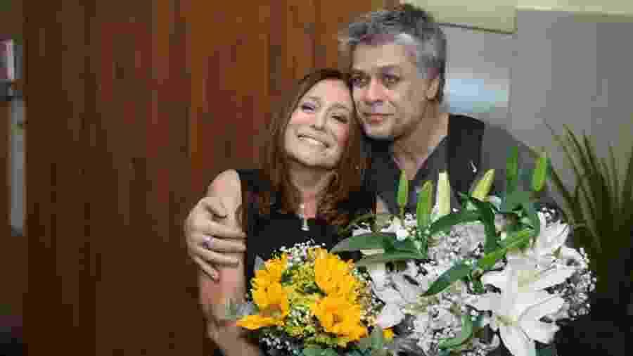 Fabio Assunção com Suzana Vieira nos bastidores da peça Dogville - Daniel Pinheiro/AgNews