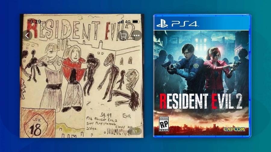 """Um varejista vende o """"Resident Evil 2"""" com uma capa desenhada à mão pra tentar escapar da censura das autoridades. - Reprodução/Taobao e Abacus"""