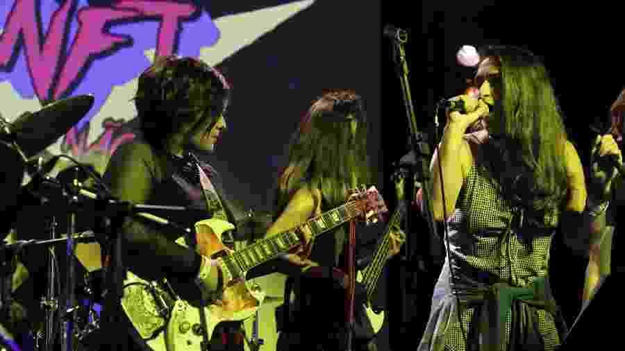 """Banda """"Elas Não Falam Top"""" comigo na guitarra durante show em São Paulo - Daniela Souza/UOL"""