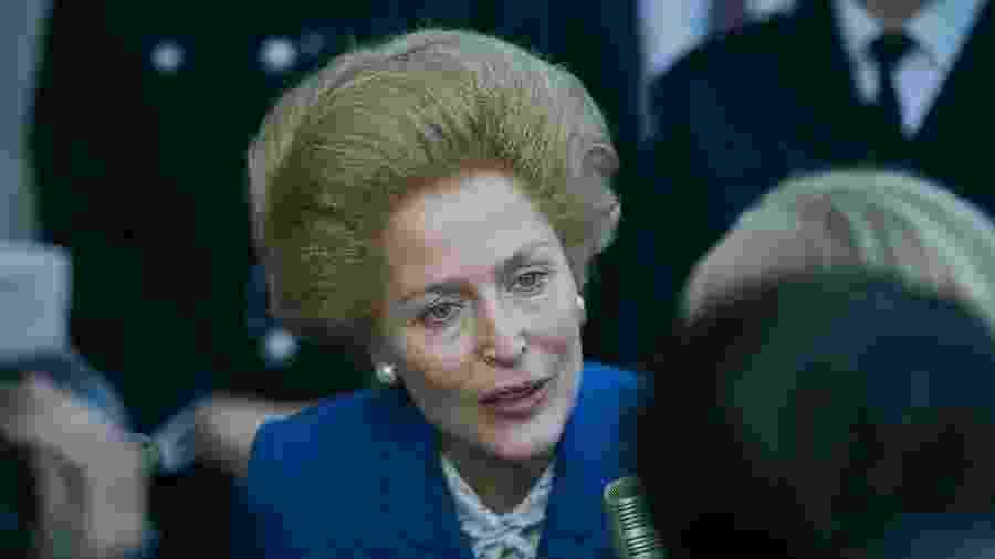 "Gillian Anderson como Margaret Thatcher na quarta temporada de ""The Crown"" - Des Willie/Netflix"