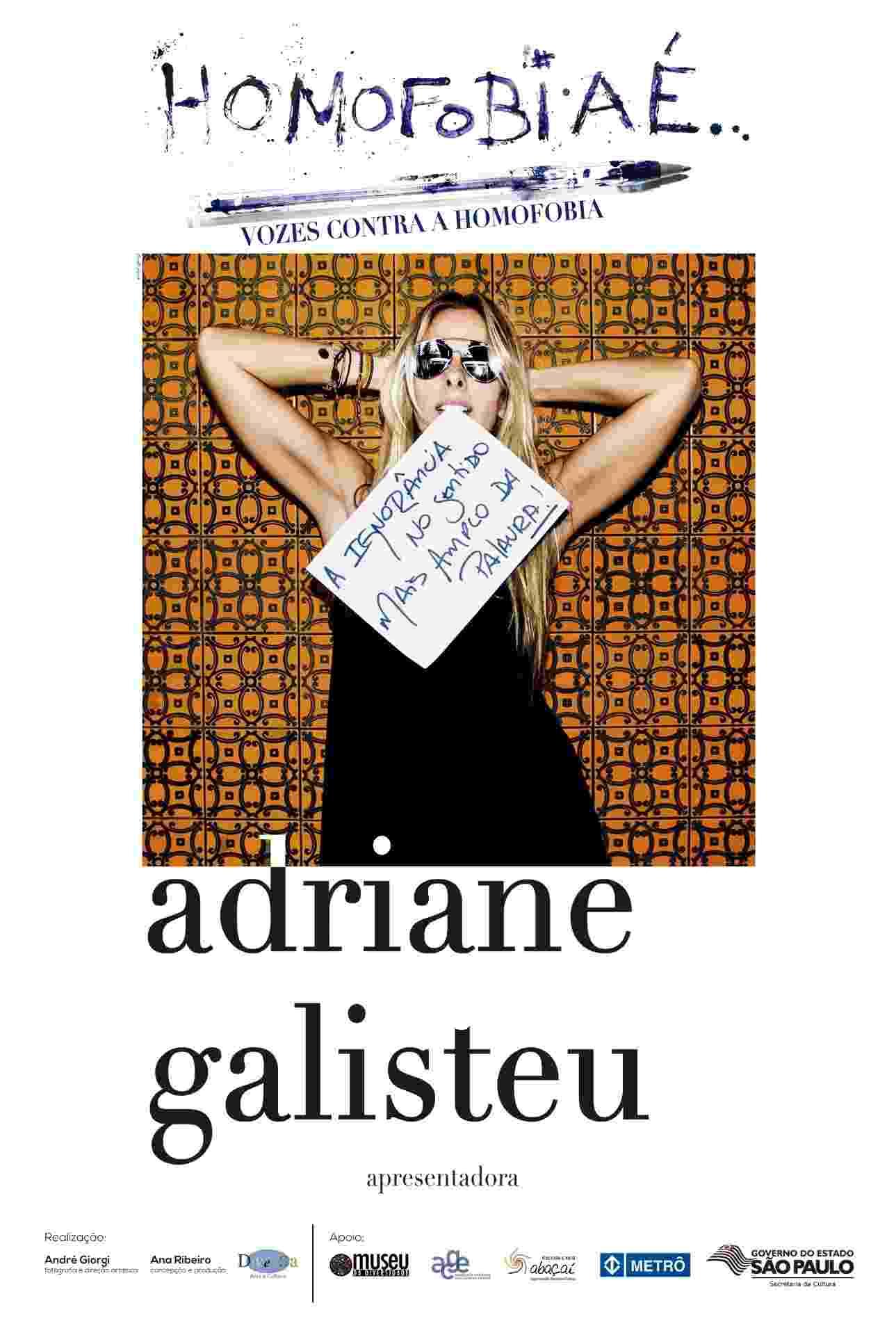 """Adriane Galisteu posou para a campanha """"Vozes contra a homofobia"""". A ação é uma parceria do Museu da Diversidade, da Secretaria de Cultura do Estado, com o Metrô - André Giorgi/Divulgação"""