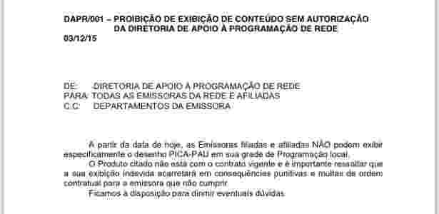 """Comunicado da Record sobre o fim da exibição de """"Pica-Pau"""" - Reprodução"""