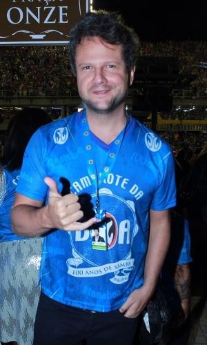 7.fev.2016 - Selton Mello avisa que tá tranquilo, tá favorável, no camarote do Rio