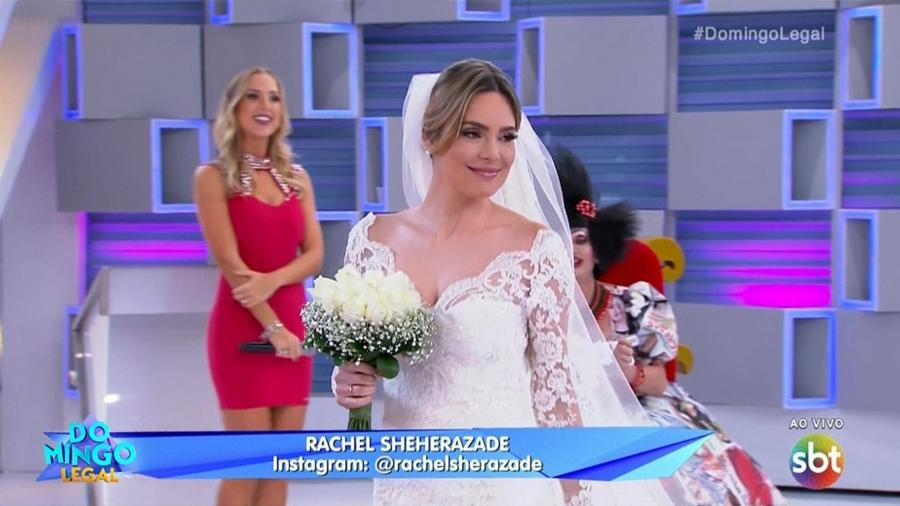 Rachel Sheherazade se transforma em modelo por 1 dia e aparece vestida de noiva - Reprodução/SBT