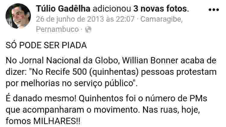 Reprodução/Facebook/tuliogadelha