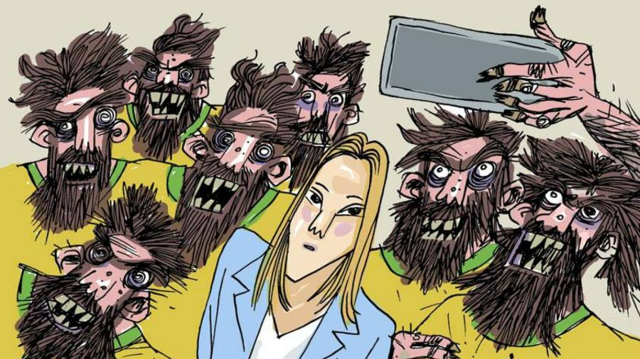 Charge do cartunista Gilmar ilustra a situação de uma mulher estrangeira ofendida em vídeo por torcedores brasileiros na Rússia - Facebook/@cartunistagilmar