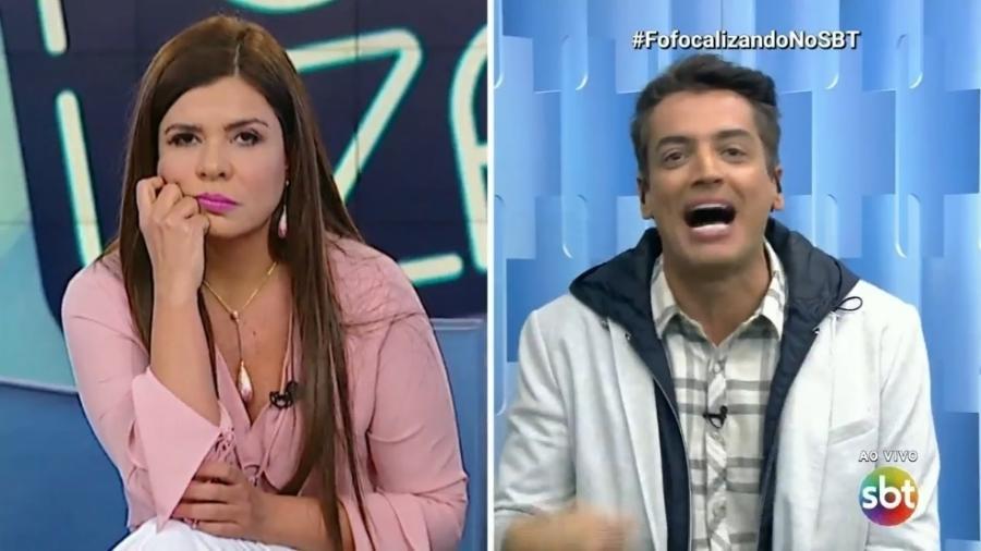 """Mara Maravilha e Léo Dias discutem no """"Fofocalizando"""" em agosto - Reprodução/SBT"""