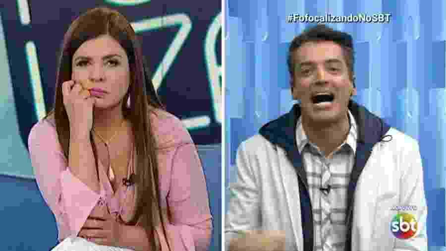 """Os """"brigões"""" Mara Maravilha e Léo Dias estão cotados para o """"Tricotando"""", da RedeTV - Reprodução/SBT"""