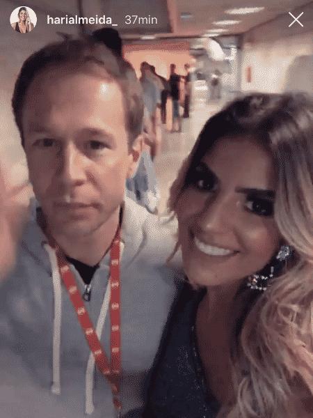 Hariany encontra Tiago Leifert nos bastidores dos Estúdios Globo - Reprodução/Instagram