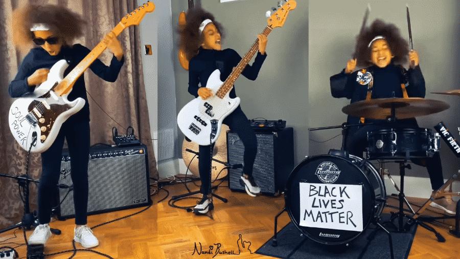 """Nandi Bushell interpretando """"Guerrilla Radio"""", do Rage Against the Machine - Reprodução / Youtube"""
