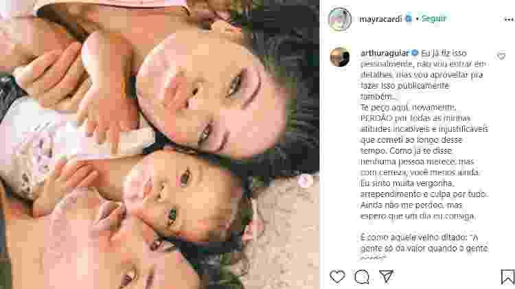 Arthur Aguiar comentou na postagem da ex, Mayra Cardi, para pedir perdão publicamente - Reprodução/Instagram/@mayracardi - Reprodução/Instagram/@mayracardi