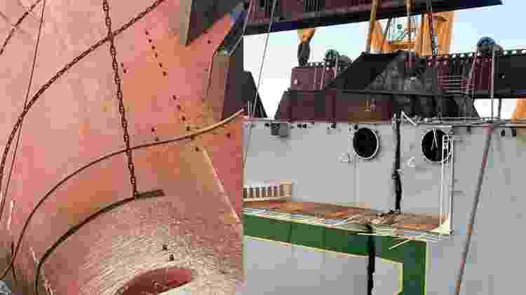 Fatiamento MV Golden Ray navio cargueiro tombado montagem - Divulgação - Divulgação