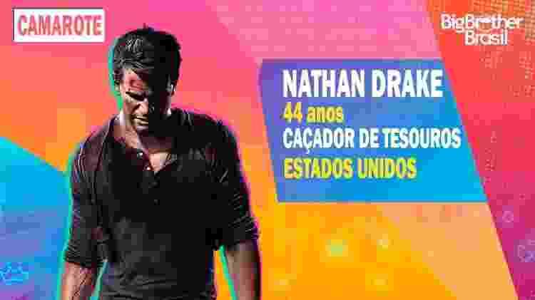 Nathan Drake no BBB - Montagem: Allan Francisco / Divulgação (Sony) - Montagem: Allan Francisco / Divulgação (Sony)