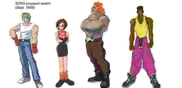"""Esboço dos personagens de """"Streets of Rage 4"""" foram divulgados no Twitter - Yuzo Koshiro/Twitter"""