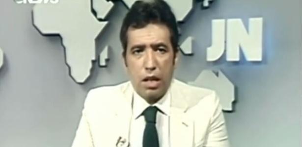"""Berto Filho durante apresentação do """"Jornal Nacional"""" em 1982 - Reprodução/Youtube"""