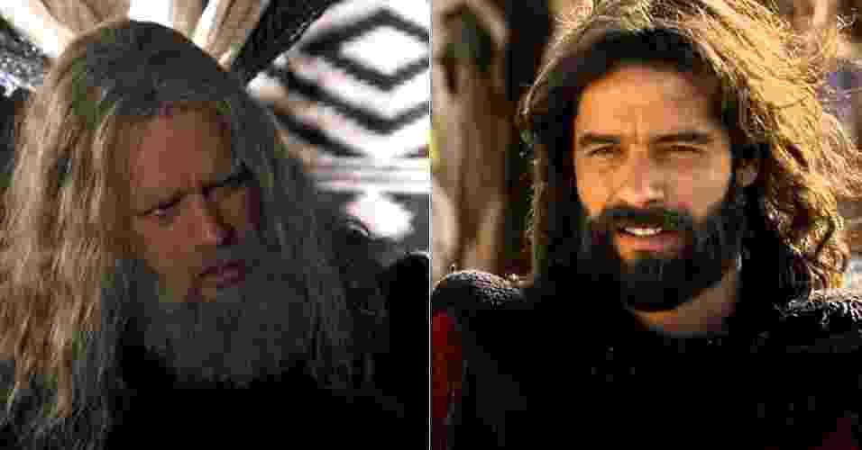 """Moisés (Guilherme Winter) ganhou barba e cabelos grisalhos para viver o profeta na última fase de """"Os Dez Mandamentos"""" - Reprodução/Record"""