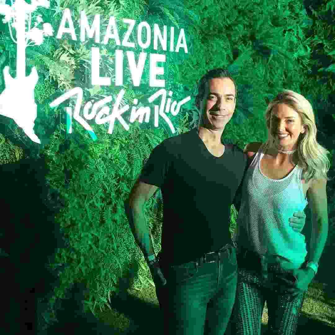 César Tralli e a noiva, Ticiane Pinheiro, aproveitam camarote e curtem juntos o quinto dia de shows do Rock in Rio 2017 - Reprodução/Instagram/cesartralli
