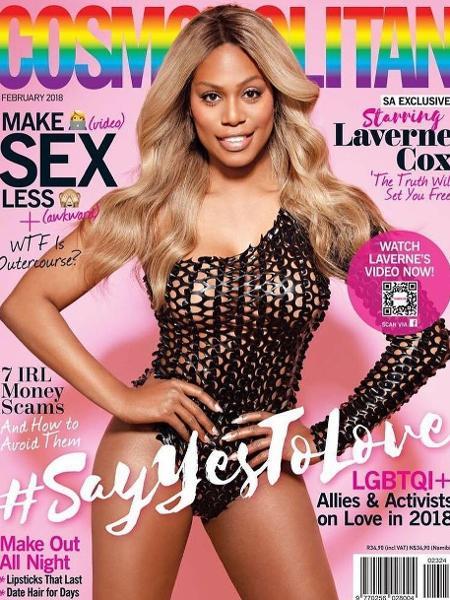 """Laverne Cox na capa da """"Cosmopolitan"""" sul-africana - Reprodução"""