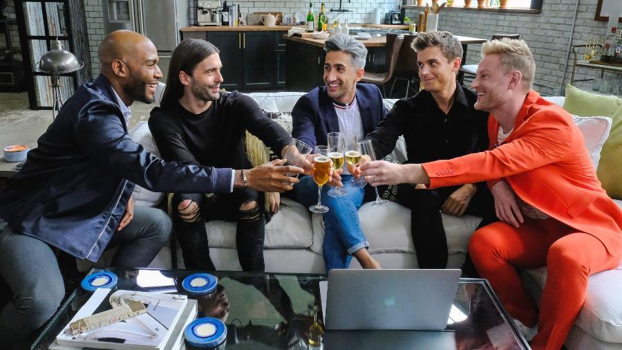 """Nova formação do """"Queer Eye"""": Karamo Brown, Jonathan Van Ness, Tan France, Antoni Porowski e Bobby Berk - Divulgação/Netflix"""