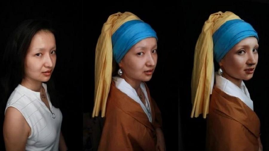 """Montagem de fotos da maquiadora He Yuhong posando antes e depois da caracterização como a """"Moça com Brinco de Pérola"""" do pintor Johannes Vermeer em Chongqing, na China - Thomas Suen/Reuters"""