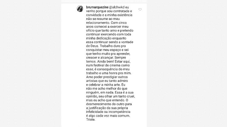 """Bruna Marquezine é chamada de """"só namorada de Neymar"""" e detona seguidora"""