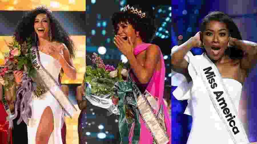 Cheslie Cryst foi coroada Miss USA 2019 nesta quinta-feira (2); Kaliegh Garris recebeu a faixa de Miss Teen USA no domingo (28); Nia Imani Franklin é a atual Miss America - Montagem/UOL