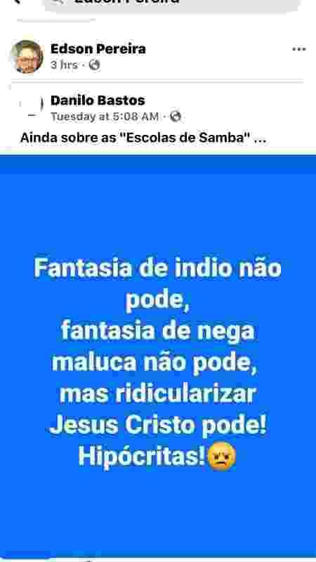 Carnavalesco da Vila compartilha crítica à Mangueira - Reprodução/Facebook - Reprodução/Facebook